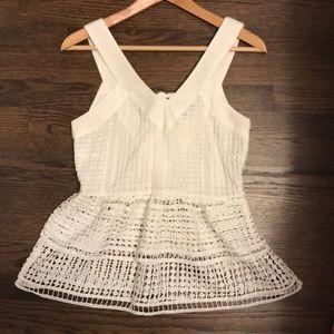 J.O.A. Lace white peplum tie-back top